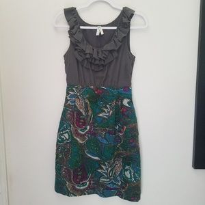 Maeve Paisley & Silk Ruffle Dress